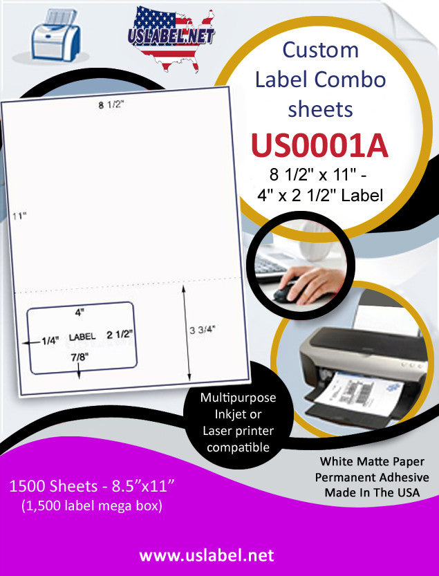 US0001A-8 1/2'' x 11'' Combo Sheet w/ a 4'' x 2 1/2'' label.