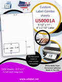 US0001A-8 1/2'' x 11'' Combo Sheet w/ a 4'' x 2 1/2'' label. - uslabel.net  America's label store.