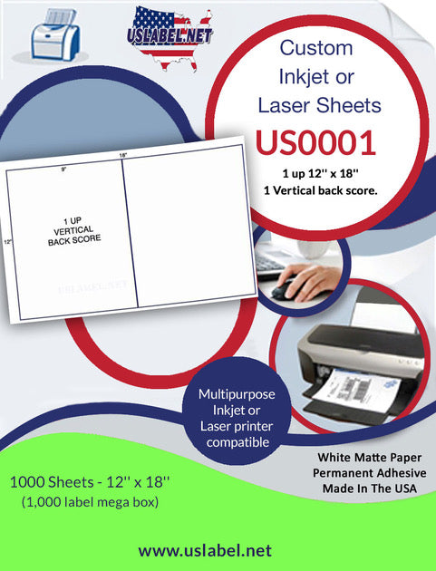 US0001 - 1 up 12'' x 18'' - 1,000 labels with 1 Vertical back score. - uslabel.net - The Label Resource Center