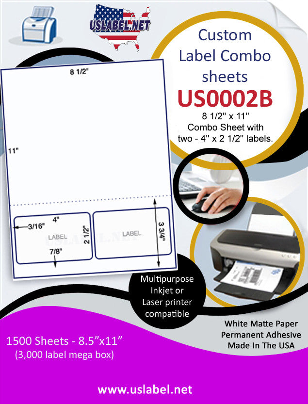 US0002B- 8 1/2'' x 11'' Combo Sheet with two - 4'' x 2 1/2'' labels and perf. - uslabel.net - The Label Resource Center