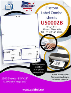 US0002B- 8 1/2'' x 11'' Combo Sheet with two - 4'' x 2 1/2'' labels and perf. - uslabel.net  America's label store.