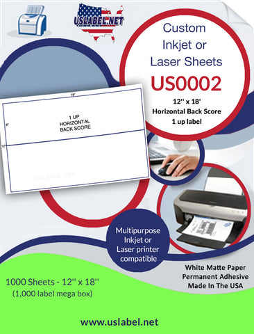 US0002 - 12'' x 18'' - 1,000 labels with 1 horizontal back score.
