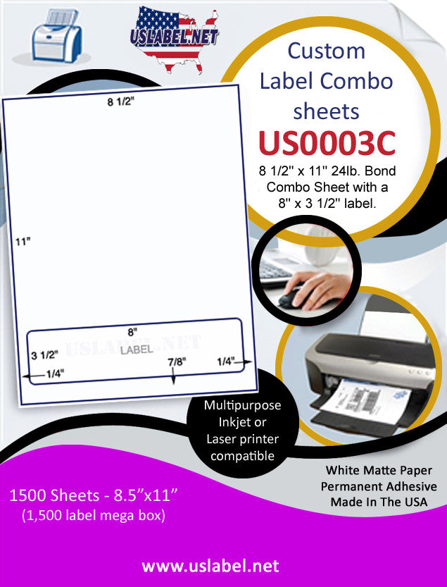 US0003C-8 1/2'' x 11'' 24lb. Bond Combo Sheet with a 8'' x 3 1/2'' label.