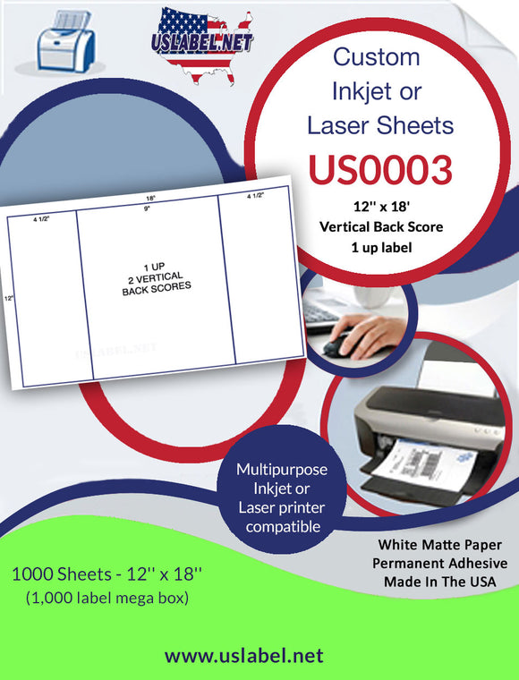 US0003 - 12'' x 18'' - 1,000 labels with 2 vertical back scores. - uslabel.net  America's label store.