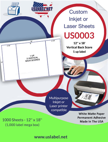 US0003 - 12'' x 18'' - 1,000 labels with 2 vertical back scores.