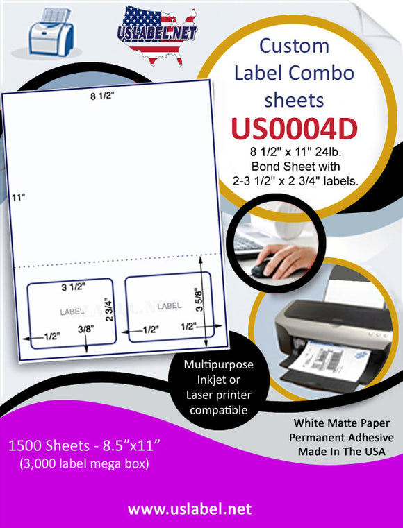 US0004D-P 8 1/2'' x 11'' 24lb. Bond Sheet with 2-3 1/2'' x 2 3/4'' labels. - uslabel.net  America's label store.