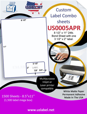 US0005APR- 8 1/2'' x 11'' 24lb. Bond Sheet with one 3 1/2'' x 2'' label.