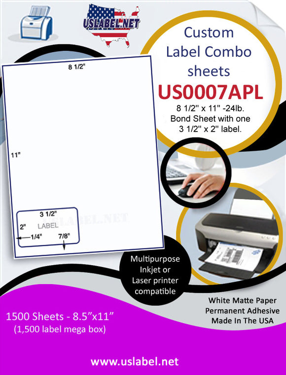 US0007APL- 8 1/2'' x 11'' -24lb. Bond Sheet with one 3 1/2'' x 2'' label. - uslabel.net  America's label store.