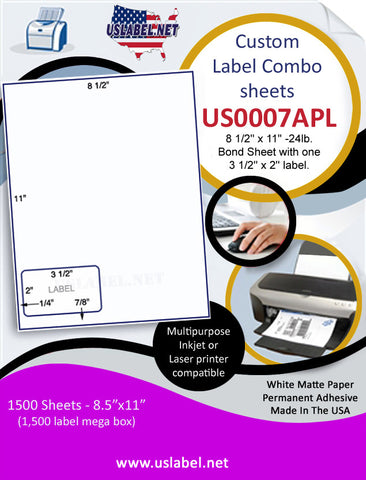 US0007APL- 8 1/2'' x 11'' -24lb. Bond Sheet with one 3 1/2'' x 2'' label.