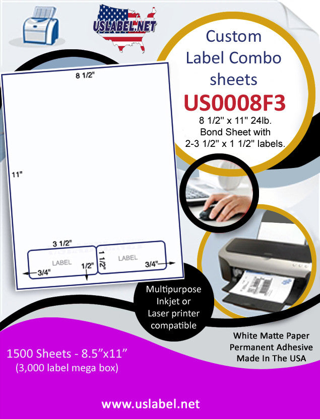 US0008F3-8 1/2'' x 11'' 24lb.Bond Sheet with 2-3 1/2'' x 1 1/2'' labels. - uslabel.net - The Label Resource Center