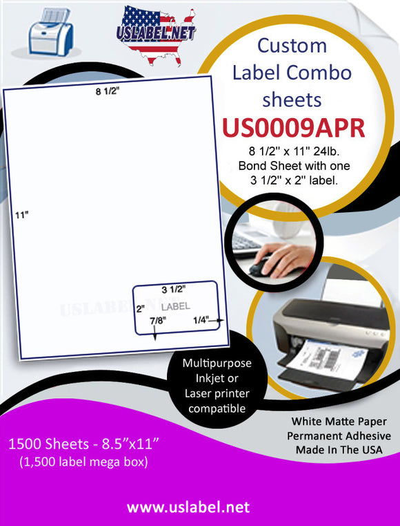 US0009APR-8 1/2'' x 11'' 24lb.Bond Sheet with one 3 1/2'' x 2'' label right. - uslabel.net  America's label store.
