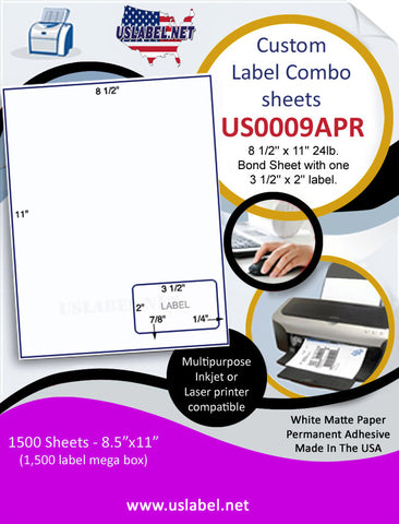 US0009APR-8 1/2'' x 11'' 24lb.Bond Sheet with one 3 1/2'' x 2'' label.