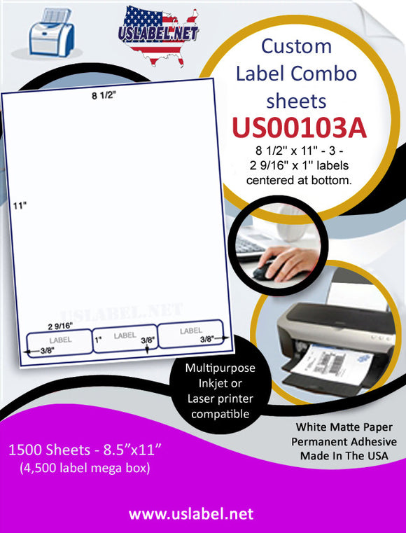 US00103A - 8 1/2'' x 11'' - 3 - 2 9/16'' x 1'' labels centered at bottom. - uslabel.net  America's label store.