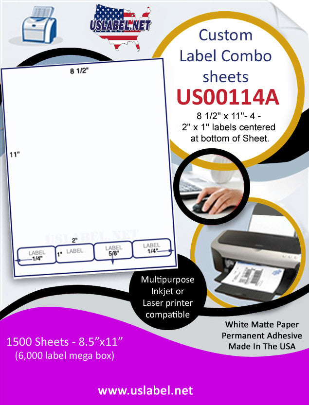 US00114A-8 1/2'' x 11''- 4 -2'' x 1'' labels centered at bottom of Sheet. - uslabel.net - The Label Resource Center