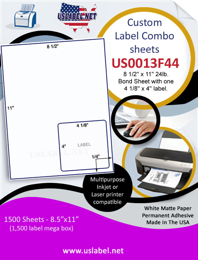 US0013F44 - 8 1/2'' x 11'' 24lb. Bond Sheet with one 4 1/8'' x 4'' label. - uslabel.net - The Label Resource Center