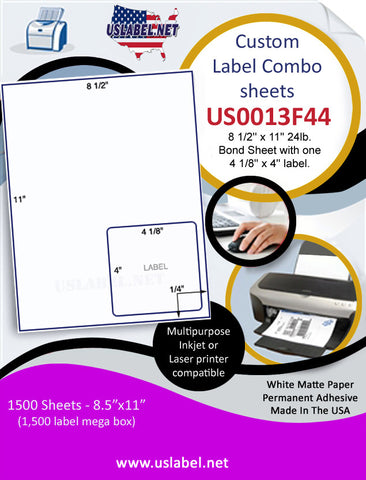 US0013F44 - 8 1/2'' x 11'' 24lb. Bond Sheet with one 4 1/8'' x 4'' label.
