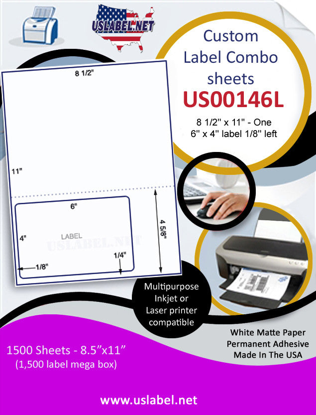 "US00146L/R - 8 1/2'' x 11''/14"" - One 6'' x 4'' label 1/8'' left 1,500 Sheets."