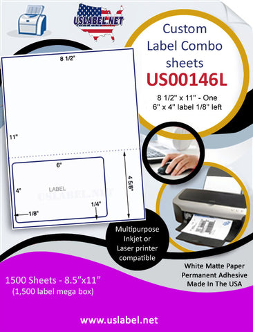 US00146L - 8 1/2'' x 11'' - One 6'' x 4'' label 1/8'' left 1,500 Sheets.