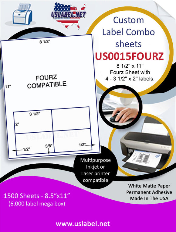 US0015FOURZ - 8 1/2'' x 11'' Fourz Sheet with 4 - 3 1/2'' x 2'' labels. - uslabel.net  America's label store.