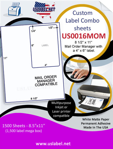 US0016MOM - 8 1/2'' x 11'' Mail Order Manager with a 4'' x 6'' label.