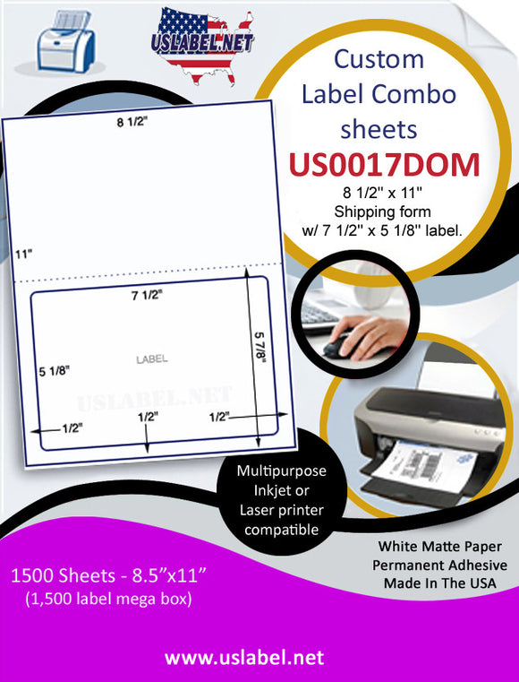 US0017DOM-8 1/2'' x 11'' Shipping form w/ 7 1/2'' x 5 1/8'' label. - uslabel.net  America's label store.