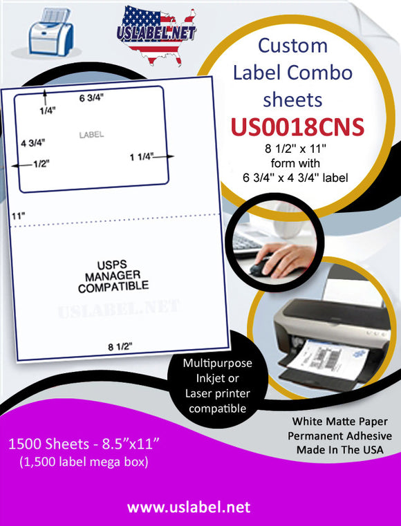 US0018CNS-8 1/2'' x 11'' form with 6 3/4'' x 4 3/4'' label - uslabel.net  America's label store.