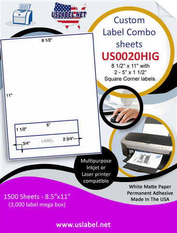 US0020HIG - 8 1/2'' x 11'' with 2 - 5'' x 1 1/2'' Square Corner labels.