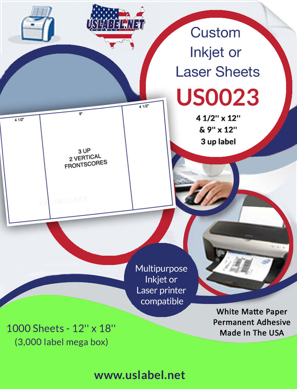 US0023-2 up-4 1/2'' x 12'' and a 9'' x 12'' up on a 12'' x 18'' sheet. - uslabel.net - The Label Resource Center