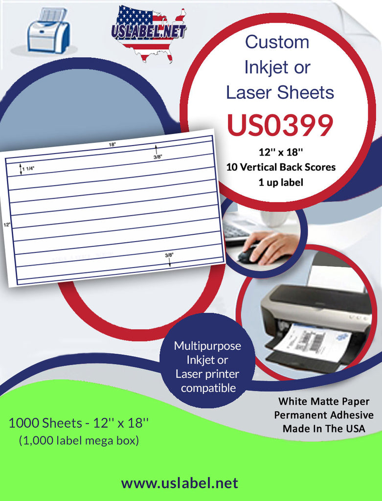 US0399-1 Up 12'' x 18'' Label - 10 Vertical Back Scores. - uslabel.net - The Label Resource Center