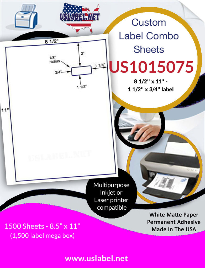US1015075-8 1/2'' x 11'' Integrated Sheet w/ a 1 1/2'' x 3/4'' label.