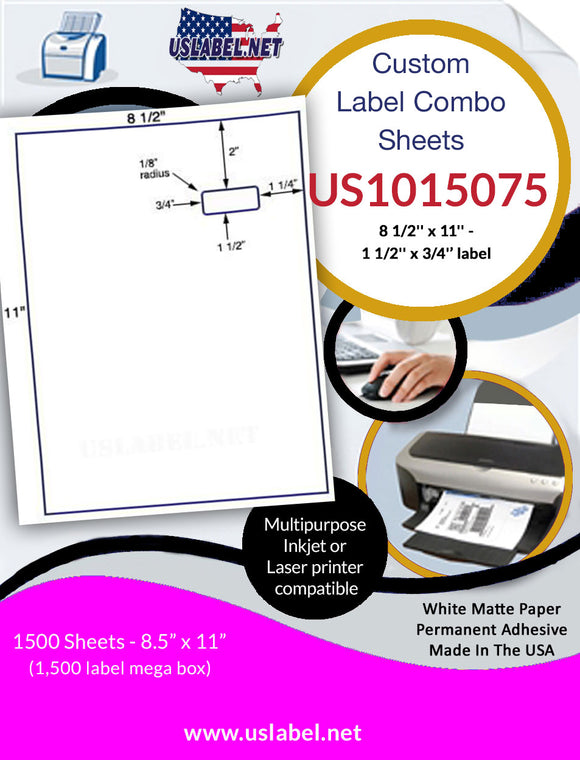 US1015075-8 1/2'' x 11'' Integrated Sheet w/ a 1 1/2'' x 3/4'' label. - uslabel.net - The Label Resource Center