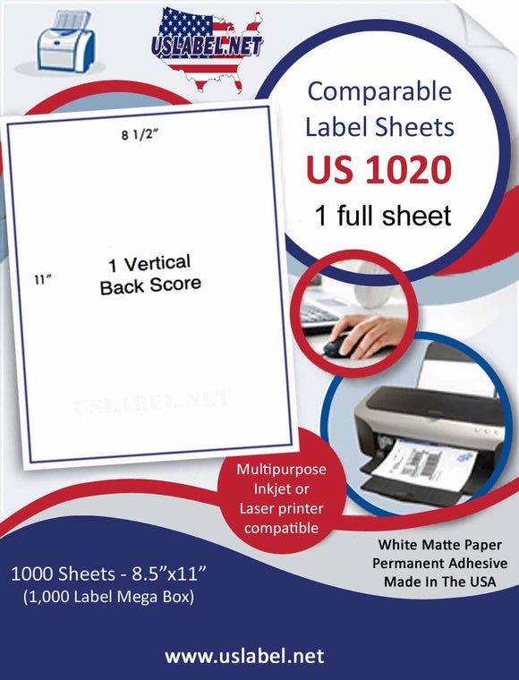US1020-8 1/2 x 11 - Comparable 8165 -1,000 label sheets.