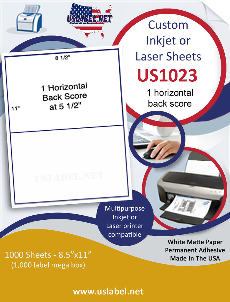 US1023 - 8.5 x11 - 1 horizontal back score Label sheet.