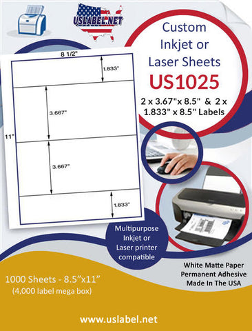 "US1025 - 2 x 3.67""x 8.5""  and 2 x 1.833"" x 8.5"" Inkjet or Laser Labels."