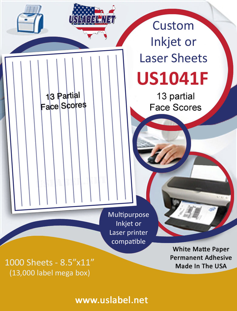 US1041F - 8 1/2'' x 11'' - with 13 part Face slits Inkjet or Laser Labels.