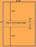 "US1043-8 1/2'' x 4.75''-2 up on 8.5"" x 11"" Label sheet."