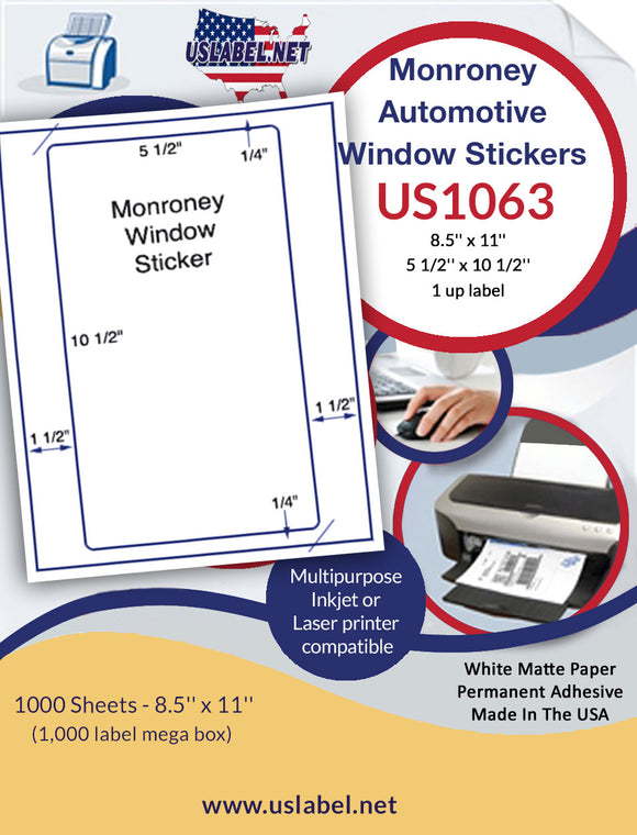 US1063- 5 1/2'' x 10 1/2'' - 1,000 Monroney Automotive Window stickers - uslabel.net - The Label Resource Center