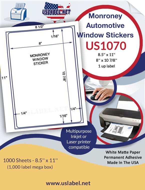 US1070M - 8'' x 10 7/8''  - 1,000 Monroney Automotive Window stickers - uslabel.net - The Label Resource Center