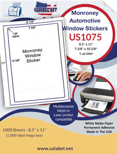 US1075 - 7 3/8'' x 10 3/8'' - 1,000 Monroney Automotive Window stickers - uslabel.net - The Label Resource Center