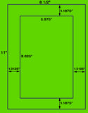 "US1076 - 5.875"" x 8.625"" 1 up label on a 8.5"" x 11"" sheet"