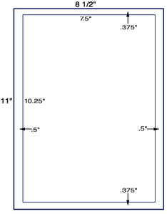 "US1077 - 7.5""  x 10.25"" label on a 8 1/2""  x 11"" sheet. - uslabel.net - The Label Resource Center"