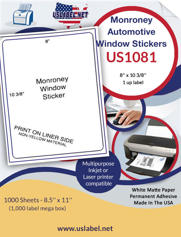 US1081  8'' x 10 3/8''  1,000 Monroney Automotive Window stickers - uslabel.net - The Label Resource Center