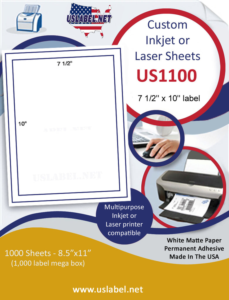 US1100 - 7 1/2'' x 10 ''  label on a 8 1/2'' x 11'' sheet Inkjet or Laser Labels. - uslabel.net - The Label Resource Center