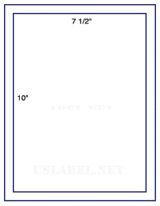 US1100 - 7 1/2'' x 10 '' -1 up on a 8 1/2'' x 11'' label sheet