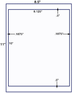 US1104-8.125'' x 10'' label on a 8.5'' x 11'' label sheet.