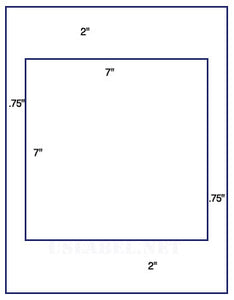 "US1105 - 7'' x 7'' Square on a 8 1/2"" x 11"" label sheet."