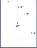 "US1119 - 3 1/2'' x 1'' on a 8 1/2"" x 11"" label sheet."