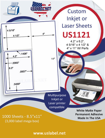 US1121- 4.2'' x 6.2'' w/ Perfs on 8 1/2'' x 11'' inkjet and laser label sheets.
