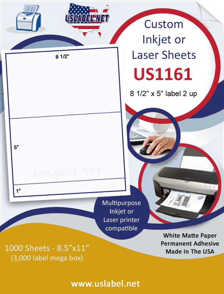 "US1161 - 8 1/2'' x 5'' on a 8 1/2"" x 11"" inkjet and laser label sheet."