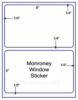 "US1181M-8 '' x  5'' - 2 up Monroney label with gutter on a 8 1/2"" x 11"" laser sheet."
